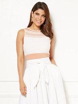 New York & Co. Eva Mendes Collection - Loretia Jacquard Mesh Stripe Sweater