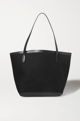 The Row Park Large Leather-trimmed Canvas Tote - Black