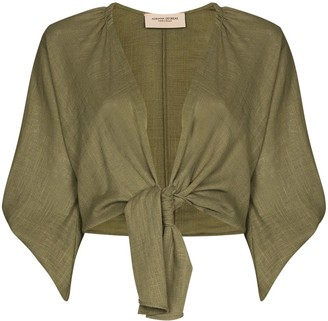 Adriana Degreas Front Tie Fastening Cropped Blouse
