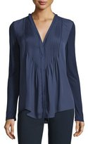 Elie Tahari Willow Long-Sleeve Pleated-Bib Blouse, Marine
