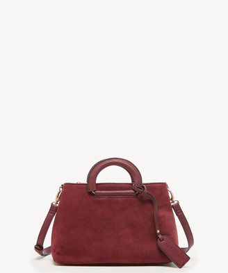 Sole Society Women's Parker Crossbody Bag Mix Suede Berry Faux Leather From