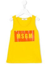 MSGM logo print tank top - kids - Cotton - 10 yrs