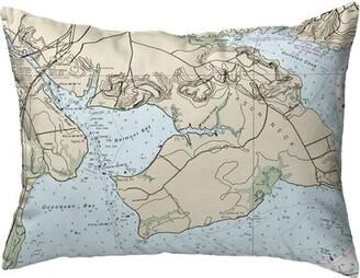 V&A Highland Dunes Raasch Occoquan, Va Nautical Map Indoor/Outdoor Lumbar Pillow Highland Dunes