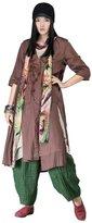 OUTLINE Womens Plus Size Summer Embroidery Print Cotton Linen Blouse