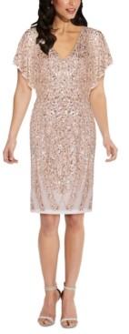 Adrianna Papell V-Neck Sequined Sheath Dress