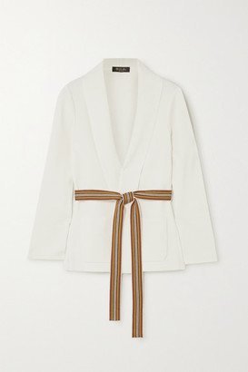 Loro Piana Belted Silk And Cotton-blend Cardigan - Ivory