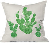 "Deny Designs Bianca Green Linocut Cacti 1 Family 16"" Square Decorative Pillow"