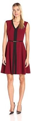 Sandra Darren Women's Extended Shoulder Fit & Flare Crepe Belted Dress