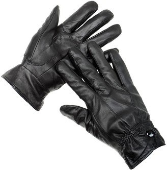 Rjm Accessories Ladies Boxed Black Seamed Leather Gloves With Studded Cuff And Fleece Lining M/L