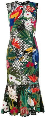Dolce & Gabbana Tropical Embroidered Fitted Dress