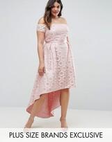 Chi Chi Plus Chi Chi London Plus Lace Bardot Dress With Hi Lo Hem