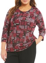 Allison Daley Plus Crew Neck 3/4 Sleeve Print Pucker Knit Top