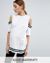 Asos T-Shirt with Cold Shoulder Stripe Insert