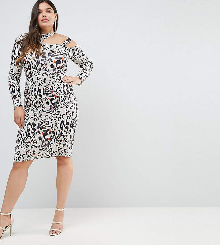 Asos Midi Dress In Animal Print With Cut Away Neck