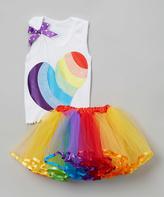 Beary Basics Rainbow Heart Tank & Tutu - Toddler & Girls