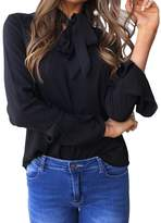 Delcoce Juniors Long Flare Sleeve Bow Tie Neck Chiffon Loose Office Shirt Tops Blouse L