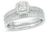 Zales 3/4 CT. T.W. Princess-Cut Diamond Frame Multi-Row Bridal Set in 10K White Gold