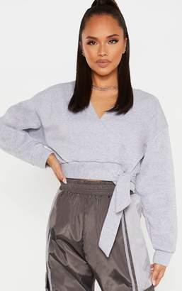 PrettyLittleThing Grey Plunge Wrap Tie Crop Sweater