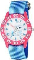Disney Girl's 'Palace Pet' Quartz Plastic and Nylon Watch, Color:Blue (Model: W002826)