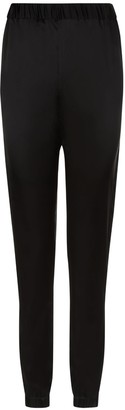 Phoebe Grace Emsy Jogger Trousers In Black Stretch Satin Silk
