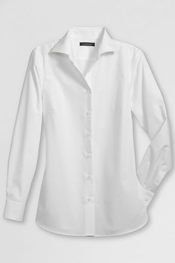 Lands' End Women's Regular Long Sleeve Easy-care Broadcloth Blouse