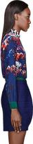 MSGM Navy Silk Floral Print Blouse