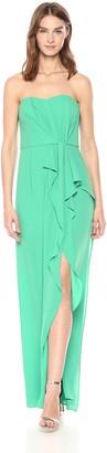Halston Women's Strapless Ruffle Front Gown