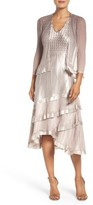 Komarov Petite Women's Charmeuse Dress & Chiffon Jacket