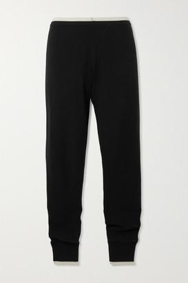 Madeleine Thompson Plutus Two-tone Cashmere Slim-fit Track Pants - Black