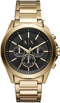 Armani Exchange Men's Chronograph Drexler Gold-Tone Stainless Steel Bracelet Watch 44mm