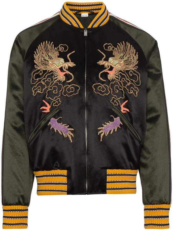 Gucci GG Embroidered Dragon Bomber Jacket