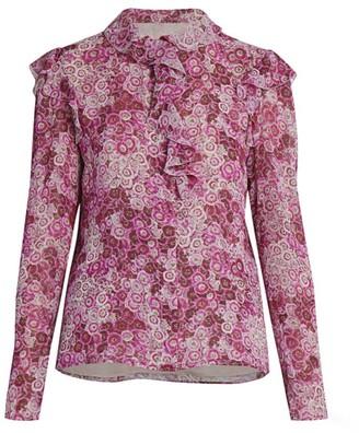 Giambattista Valli Ditsy Floral Ruffle Silk Blouse