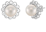 Bliss Pearl & Cubic Zirconia Floral Border Stud Earrings