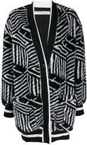 Off-White Off White geometric faux fur cardigan