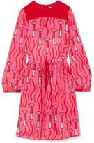 Valentino Printed Silk Crepe De Chine Dress - Pink