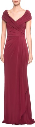 La Femme Ruched Jersey Gown