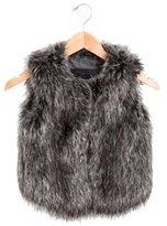 Vince Girls' Faux Fur Crew Neck Vest