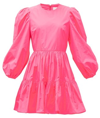Valentino Techno Puff-sleeve Tiered Taffeta Mini Dress - Pink