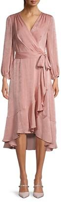 Gal Meets Glam Shimmer Satin Ruffle Wrap Dress