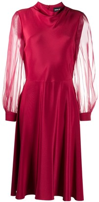 Giorgio Armani Organza-Sleeved Flared Mini Dress