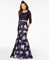 Crystal Doll Juniors' 2-Pc. Sequined Lace & Floral-Print Gown