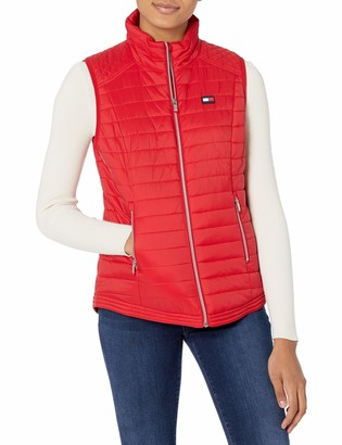 Tommy Hilfiger Quilted Vest with Tommy Logo Elastic Cinch Waist