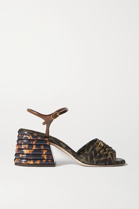 Fendi Logo-embellished Quilted Canvas-jacquard Sandals - Brown