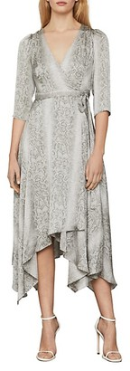 BCBGMAXAZRIA Python-Print Asymmetrical Wrap Dress