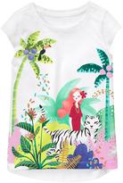 Gymboree White & Green Girl in Jungle Graphic Cap-Sleeve Tee - Girls