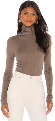 Enza Costa Silk Cashmere Rib Long Sleeve Turtleneck