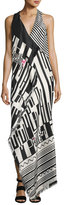 Etro Geometric-Print Sleeveless Gown, Pink/Black/White