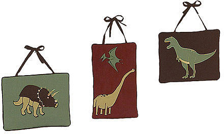 JoJo Designs Sweet Dinosaur Land Collection 3-Piece Plush Wall Hanging Set