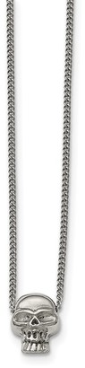 Chisel Stainless Steel Polished Skull Pendant with 16-inch Chain Necklace