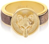 Alexa K Gold Wolf Leather Ring
